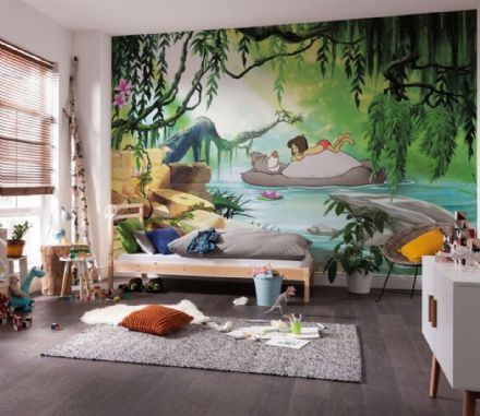 Photomural Jungle book swimming with Baloo wallpaper mural